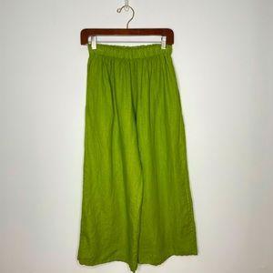 bryn WALKER Chartreuse Wide Leg Linen Cropped Pant